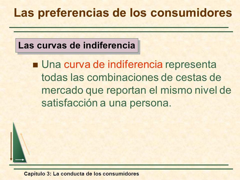 Capítulo 3: La conducta de los consumidores Una curva de indiferencia representa todas las combinaciones de cestas de mercado que reportan el mismo ni