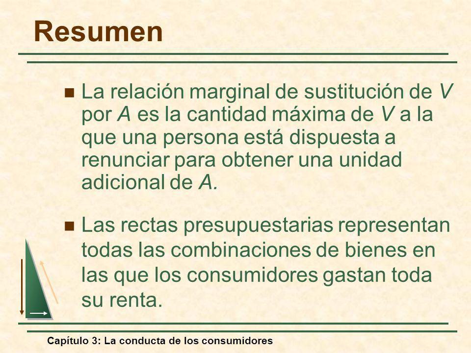 Capítulo 3: La conducta de los consumidores La relación marginal de sustitución de V por A es la cantidad máxima de V a la que una persona está dispue