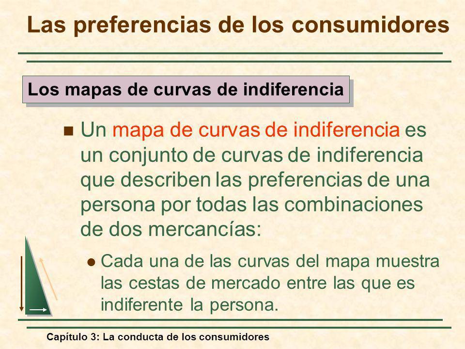 Capítulo 3: La conducta de los consumidores Un mapa de curvas de indiferencia es un conjunto de curvas de indiferencia que describen las preferencias