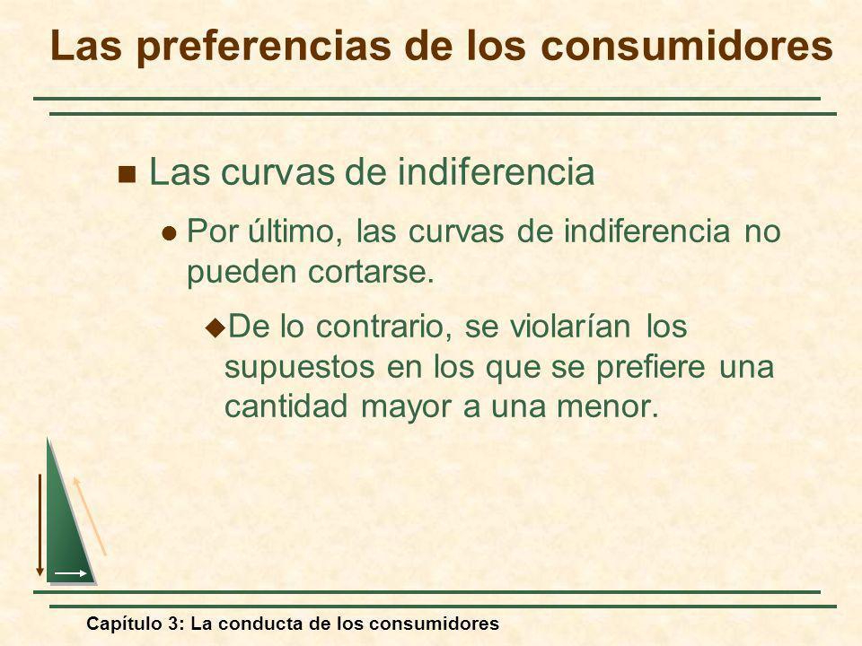 Capítulo 3: La conducta de los consumidores Las curvas de indiferencia Por último, las curvas de indiferencia no pueden cortarse. De lo contrario, se