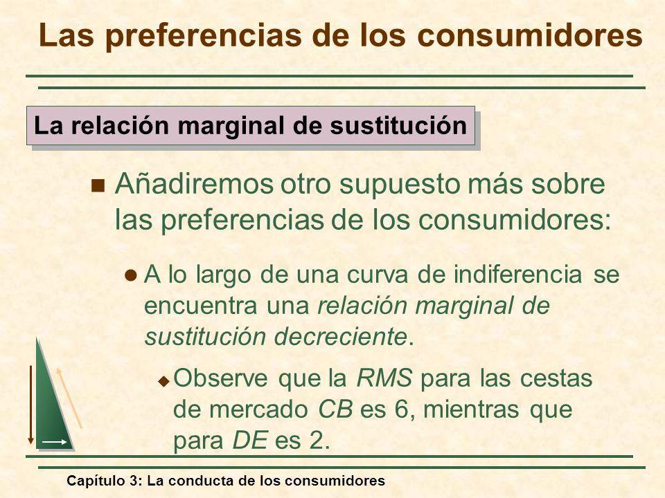 Capítulo 3: La conducta de los consumidores Añadiremos otro supuesto más sobre las preferencias de los consumidores: A lo largo de una curva de indife