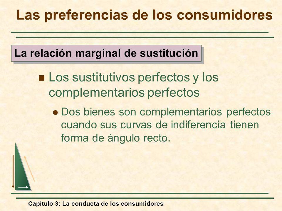 Capítulo 3: La conducta de los consumidores Los sustitutivos perfectos y los complementarios perfectos Dos bienes son complementarios perfectos cuando