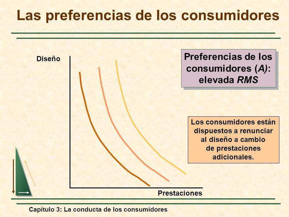 Capítulo 3: La conducta de los consumidores Los consumidores están dispuestos a renunciar al diseño a cambio de prestaciones adicionales. Diseño Prest