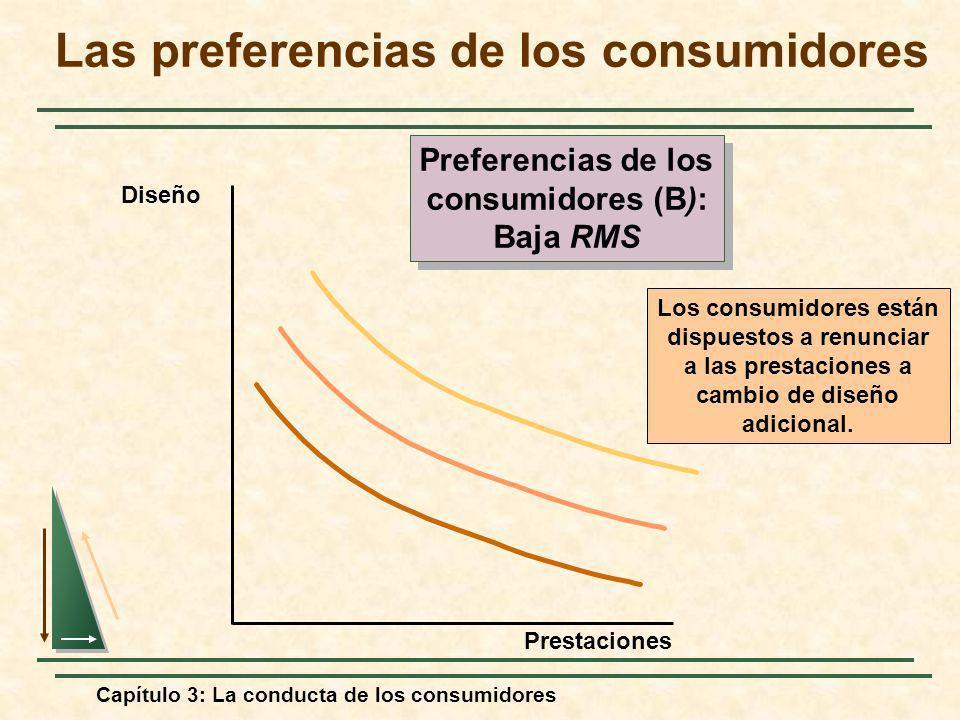 Capítulo 3: La conducta de los consumidores Los consumidores están dispuestos a renunciar a las prestaciones a cambio de diseño adicional. Diseño Pres