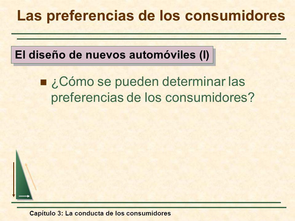 Capítulo 3: La conducta de los consumidores ¿Cómo se pueden determinar las preferencias de los consumidores? Las preferencias de los consumidores El d