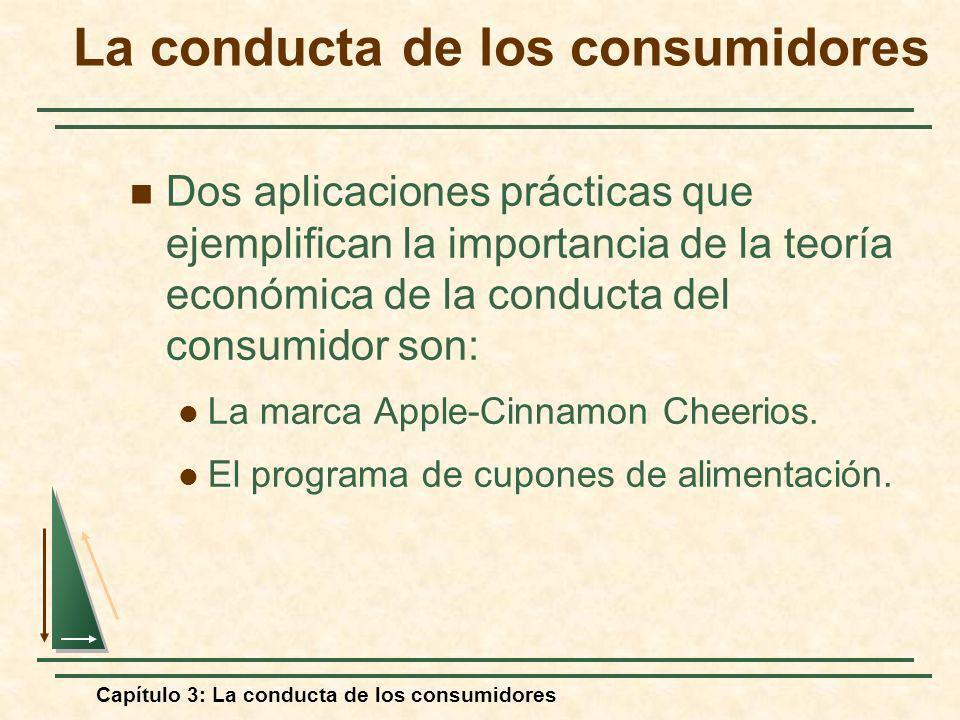 Capítulo 3: La conducta de los consumidores La conducta de los consumidores Dos aplicaciones prácticas que ejemplifican la importancia de la teoría ec