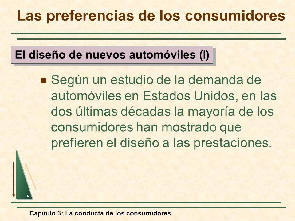 Capítulo 3: La conducta de los consumidores Según un estudio de la demanda de automóviles en Estados Unidos, en las dos últimas décadas la mayoría de