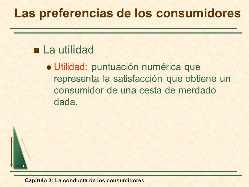 Capítulo 3: La conducta de los consumidores La utilidad Utilidad: puntuación numérica que representa la satisfacción que obtiene un consumidor de una