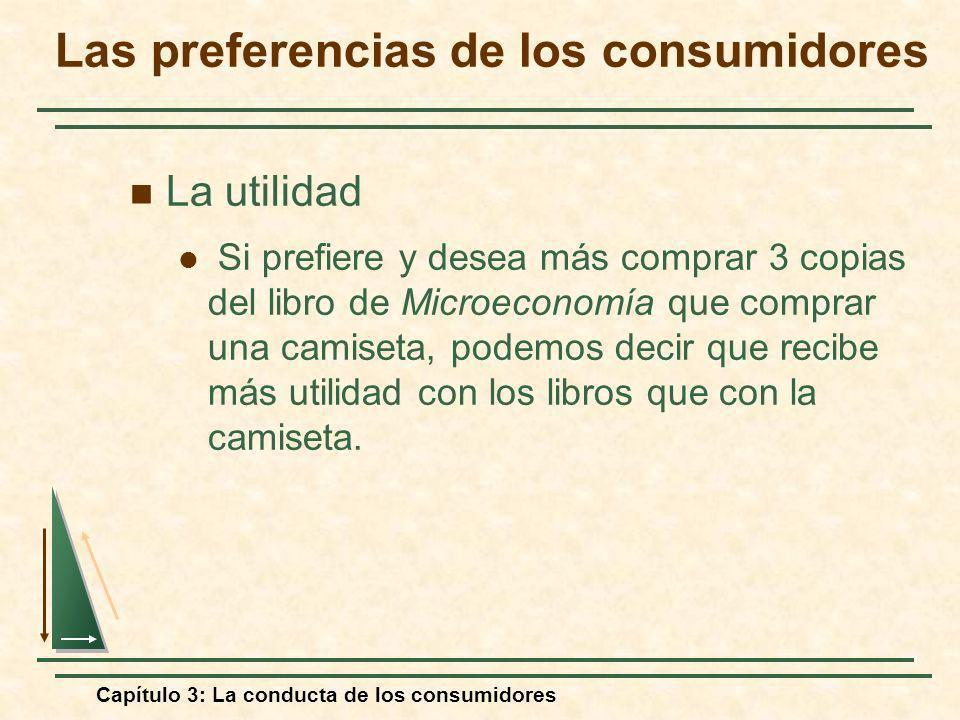 Capítulo 3: La conducta de los consumidores La utilidad Si prefiere y desea más comprar 3 copias del libro de Microeconomía que comprar una camiseta,