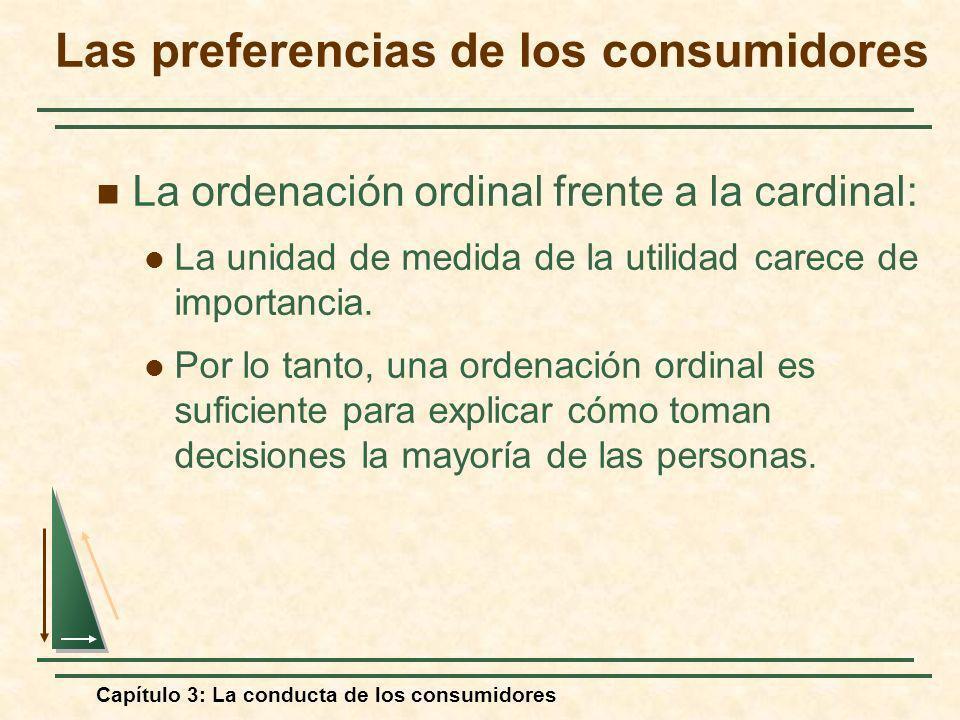 Capítulo 3: La conducta de los consumidores La ordenación ordinal frente a la cardinal: La unidad de medida de la utilidad carece de importancia. Por
