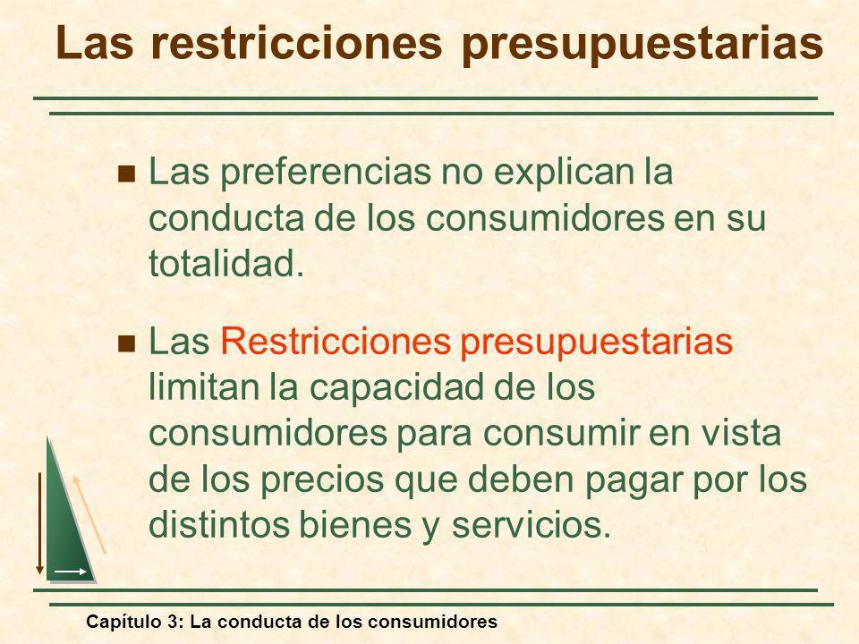 Capítulo 3: La conducta de los consumidores Las restricciones presupuestarias Las preferencias no explican la conducta de los consumidores en su total