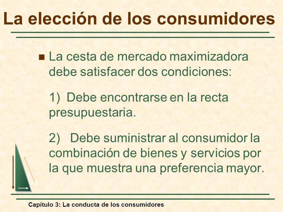 Capítulo 3: La conducta de los consumidores La cesta de mercado maximizadora debe satisfacer dos condiciones: 1) Debe encontrarse en la recta presupue