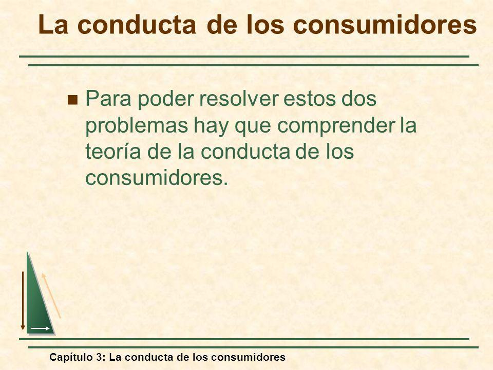 Capítulo 3: La conducta de los consumidores Para poder resolver estos dos problemas hay que comprender la teoría de la conducta de los consumidores. L
