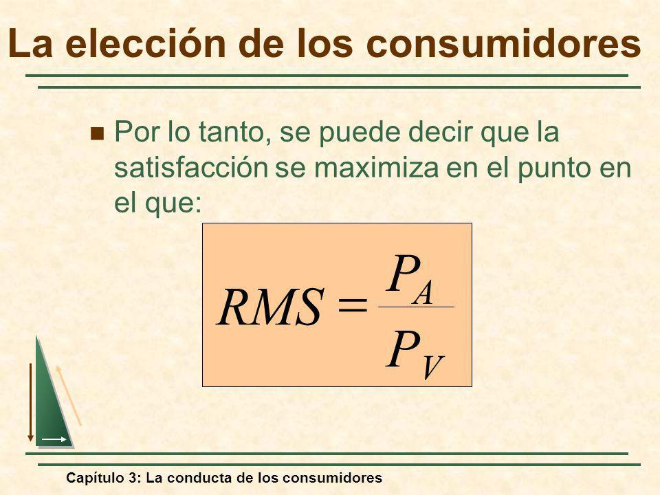 Capítulo 3: La conducta de los consumidores Por lo tanto, se puede decir que la satisfacción se maximiza en el punto en el que: PVPV PAPA RMS La elecc