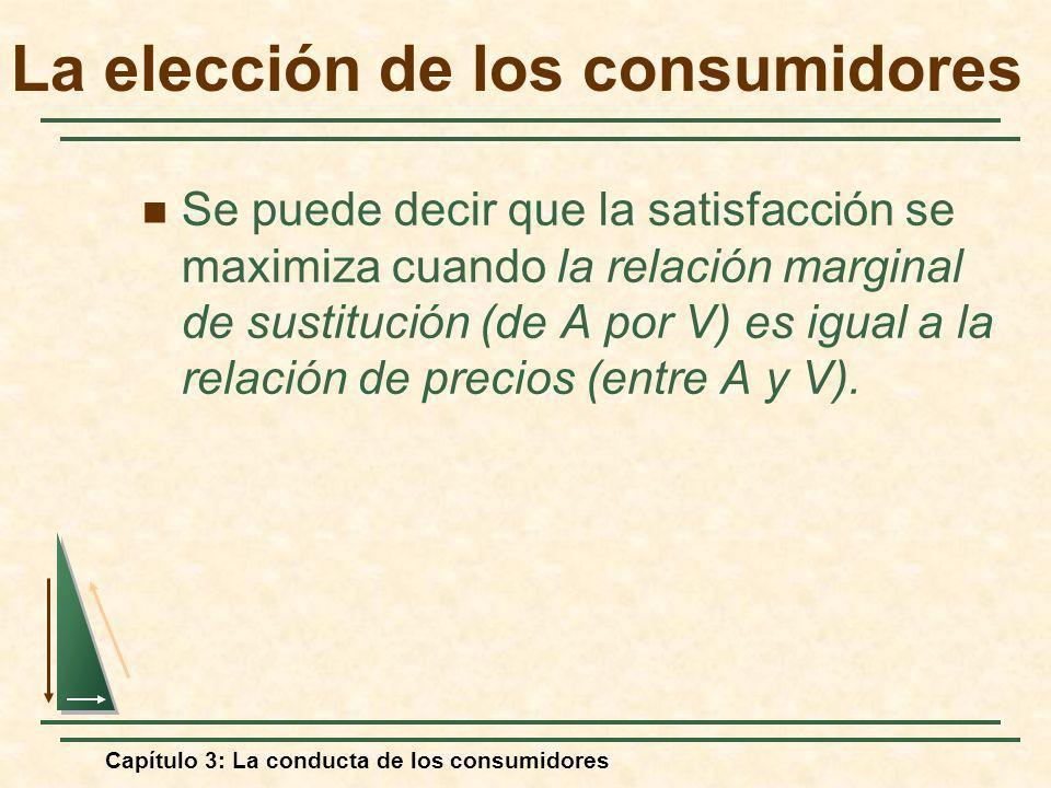 Capítulo 3: La conducta de los consumidores Se puede decir que la satisfacción se maximiza cuando la relación marginal de sustitución (de A por V) es