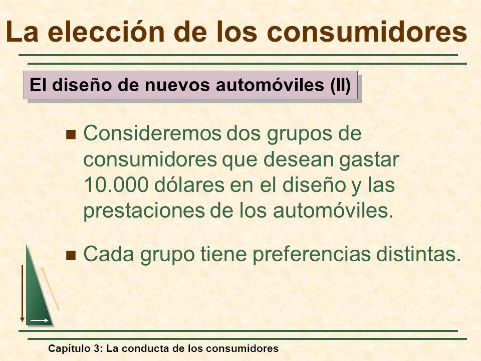Capítulo 3: La conducta de los consumidores Consideremos dos grupos de consumidores que desean gastar 10.000 dólares en el diseño y las prestaciones d