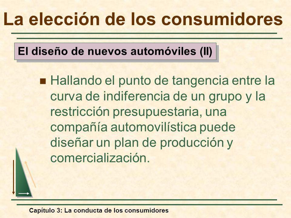 Capítulo 3: La conducta de los consumidores Hallando el punto de tangencia entre la curva de indiferencia de un grupo y la restricción presupuestaria,