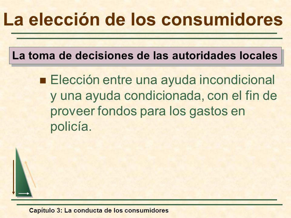 Capítulo 3: La conducta de los consumidores La elección de los consumidores Elección entre una ayuda incondicional y una ayuda condicionada, con el fi