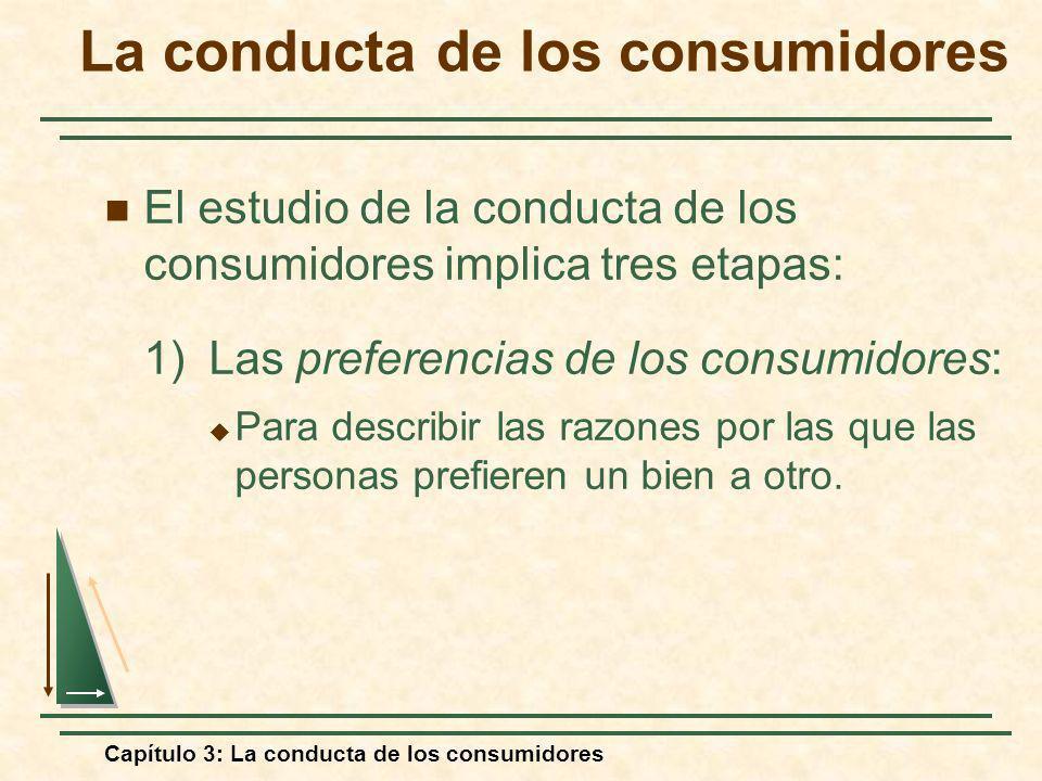 Capítulo 3: La conducta de los consumidores El estudio de la conducta de los consumidores implica tres etapas: 1) Las preferencias de los consumidores