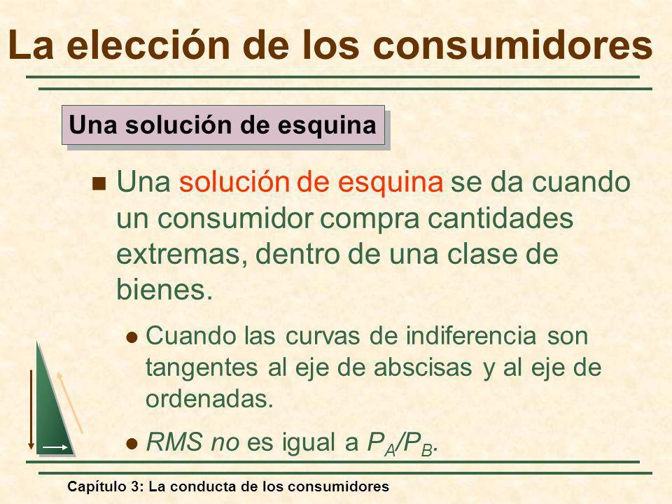 Capítulo 3: La conducta de los consumidores Una solución de esquina se da cuando un consumidor compra cantidades extremas, dentro de una clase de bien