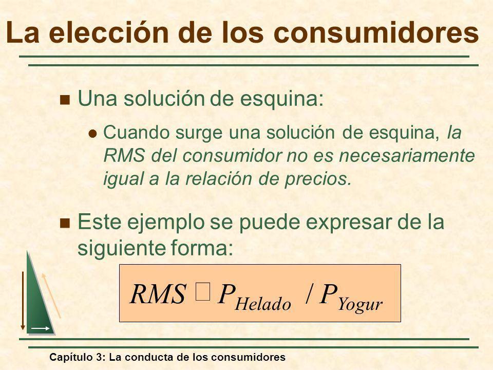 Capítulo 3: La conducta de los consumidores Una solución de esquina: Cuando surge una solución de esquina, la RMS del consumidor no es necesariamente
