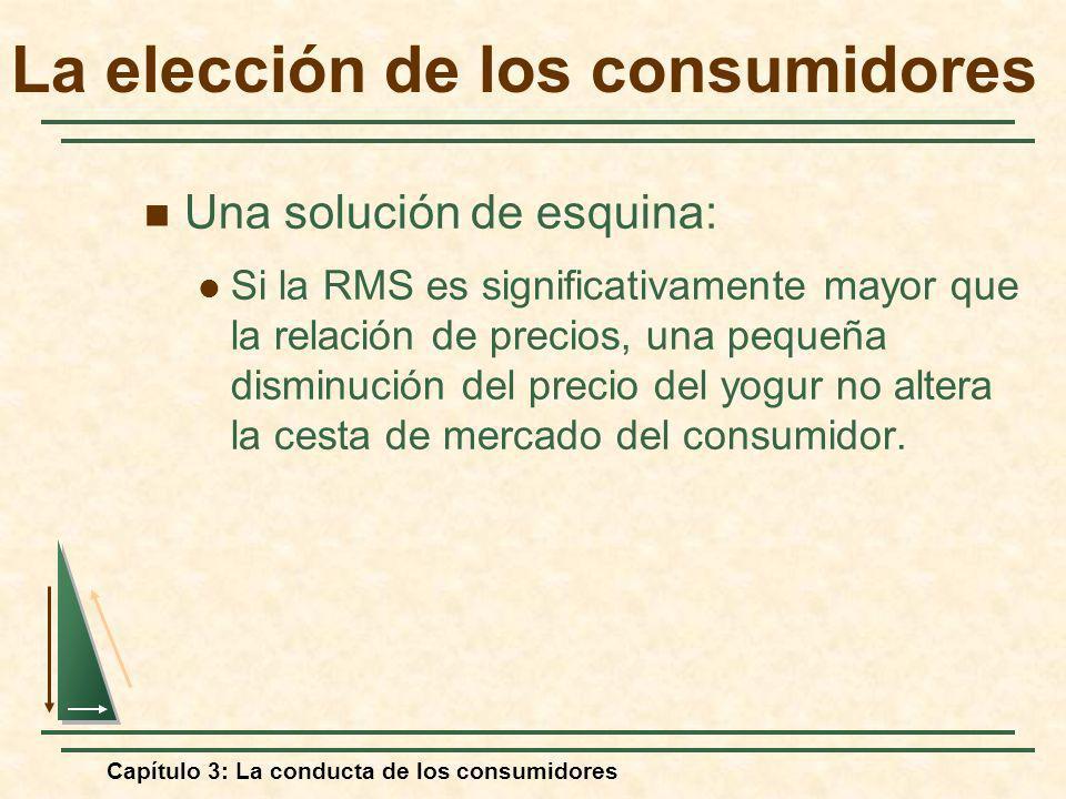 Capítulo 3: La conducta de los consumidores Una solución de esquina: Si la RMS es significativamente mayor que la relación de precios, una pequeña dis