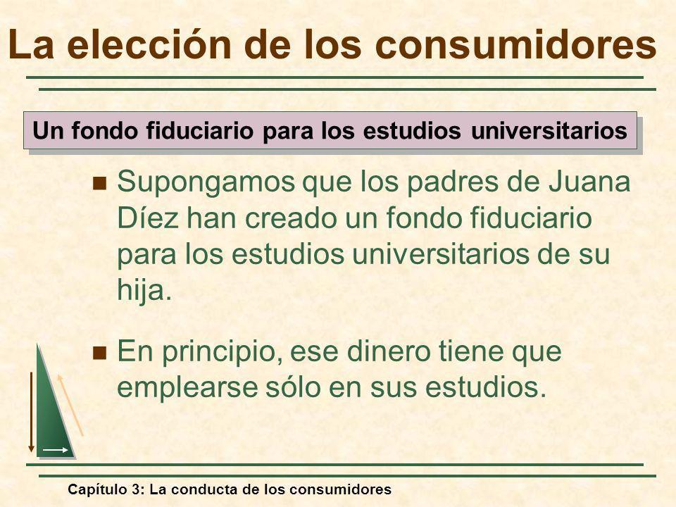 Capítulo 3: La conducta de los consumidores Supongamos que los padres de Juana Díez han creado un fondo fiduciario para los estudios universitarios de