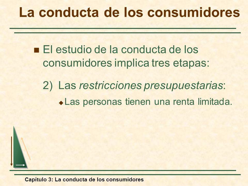 Capítulo 3: La conducta de los consumidores El estudio de la conducta de los consumidores implica tres etapas: 2)Las restricciones presupuestarias: La