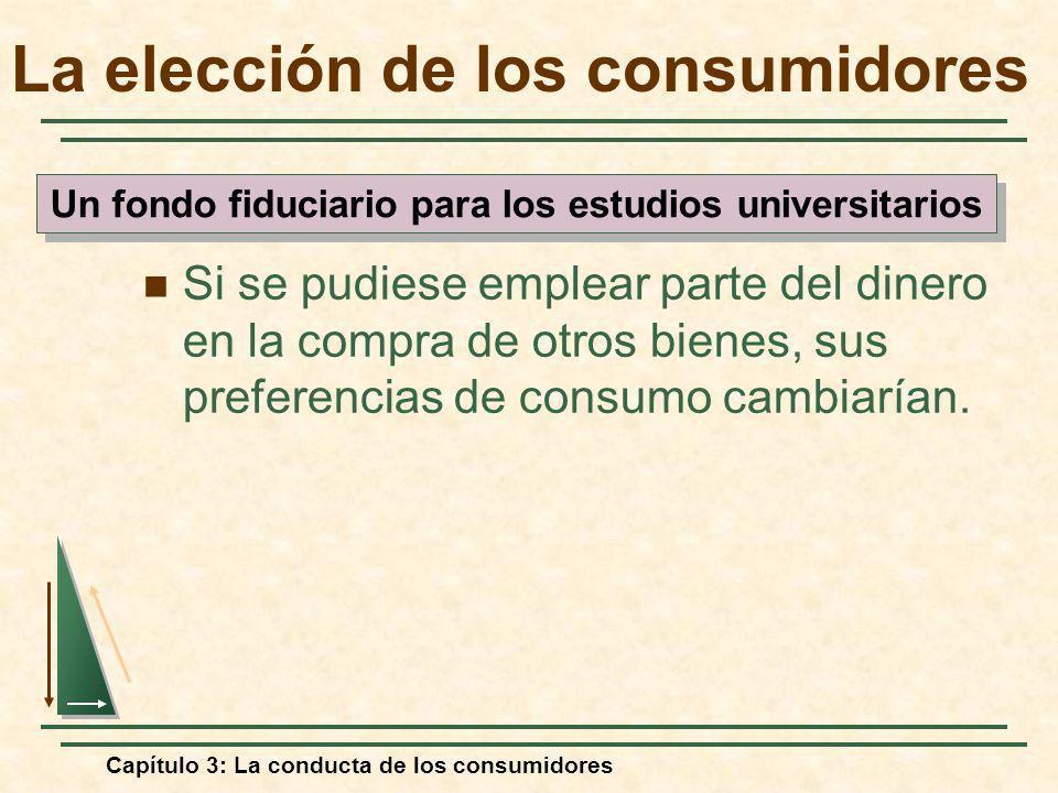 Capítulo 3: La conducta de los consumidores Si se pudiese emplear parte del dinero en la compra de otros bienes, sus preferencias de consumo cambiaría