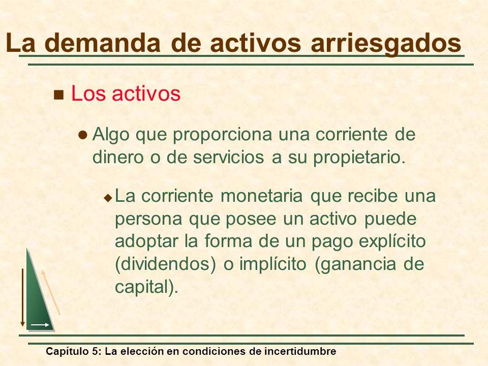 Capítulo 5: La elección en condiciones de incertidumbre Los activos Algo que proporciona una corriente de dinero o de servicios a su propietario. La c