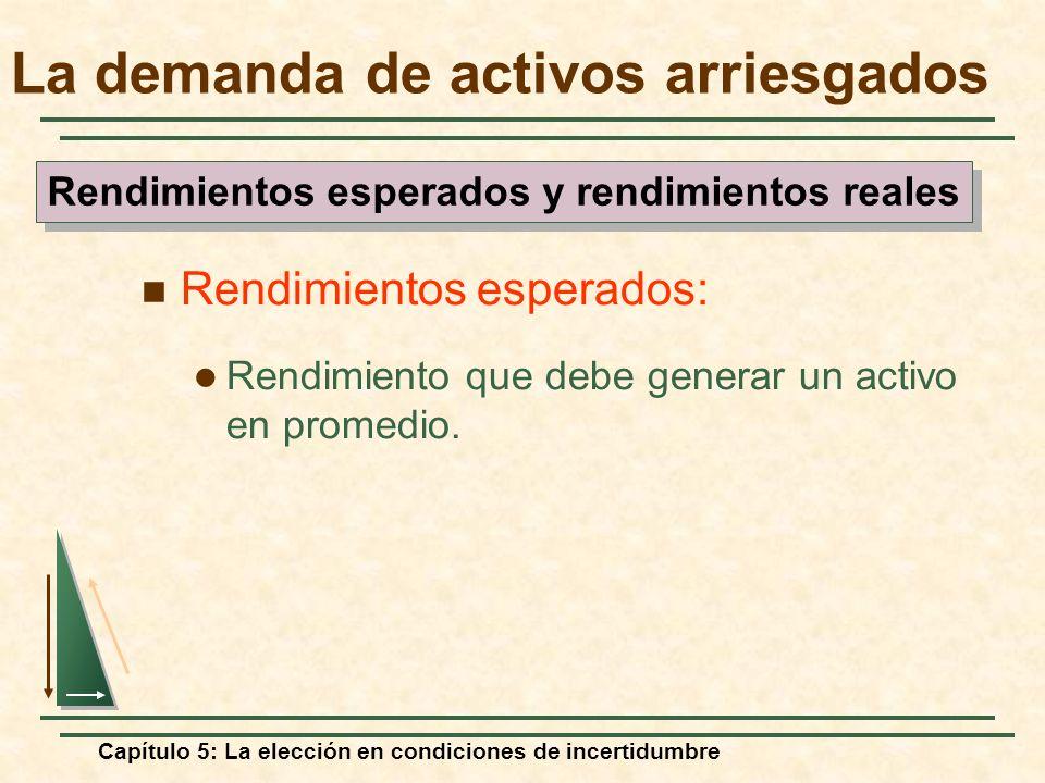 Capítulo 5: La elección en condiciones de incertidumbre La demanda de activos arriesgados Rendimientos esperados: Rendimiento que debe generar un acti
