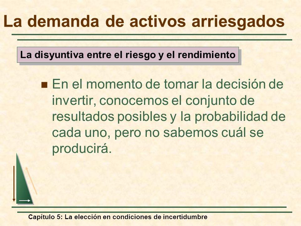 Capítulo 5: La elección en condiciones de incertidumbre La demanda de activos arriesgados En el momento de tomar la decisión de invertir, conocemos el