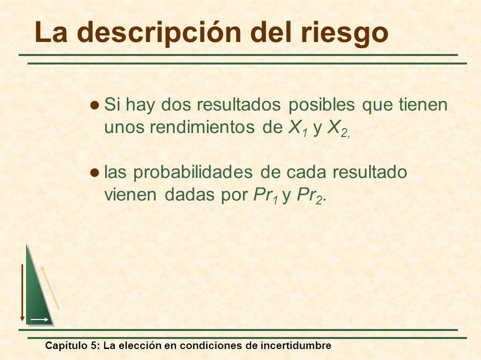 Capítulo 5: La elección en condiciones de incertidumbre La descripción del riesgo Si hay dos resultados posibles que tienen unos rendimientos de X 1 y