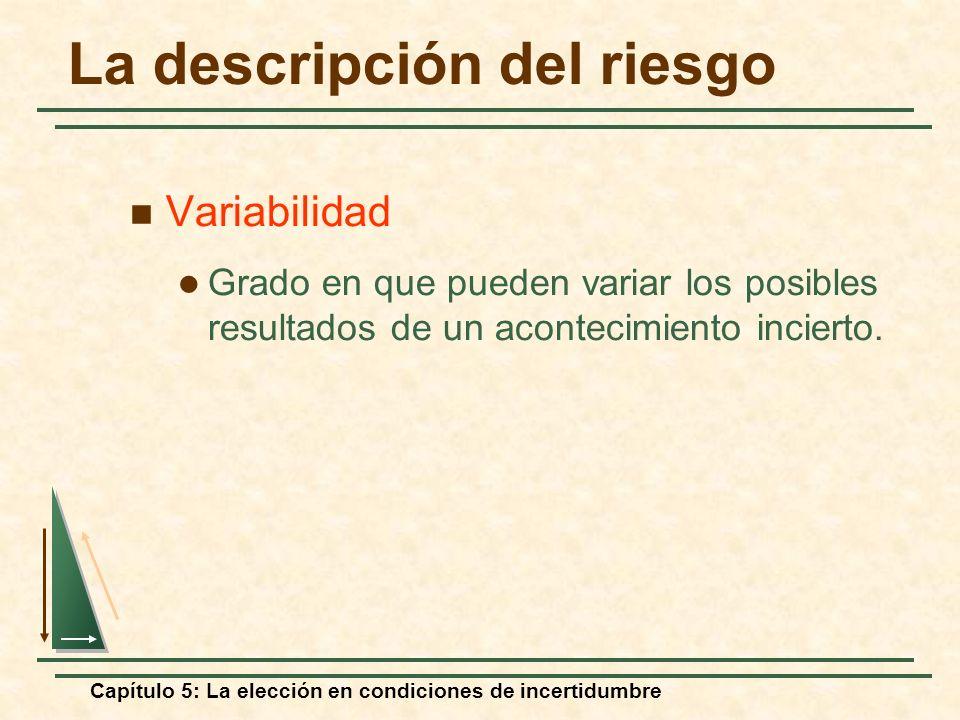 Capítulo 5: La elección en condiciones de incertidumbre La descripción del riesgo Variabilidad Grado en que pueden variar los posibles resultados de u