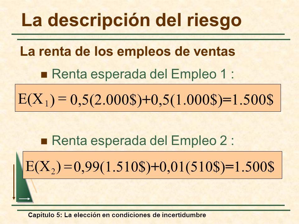 Capítulo 5: La elección en condiciones de incertidumbre 0,5(2.000$)+0,5(1.000$)=1.500$) E(X 1 Renta esperada del Empleo 1 : 0,99(1.510$)+0,01(510$)=1.