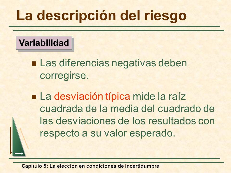 Capítulo 5: La elección en condiciones de incertidumbre Las diferencias negativas deben corregirse. La desviación típica mide la raíz cuadrada de la m