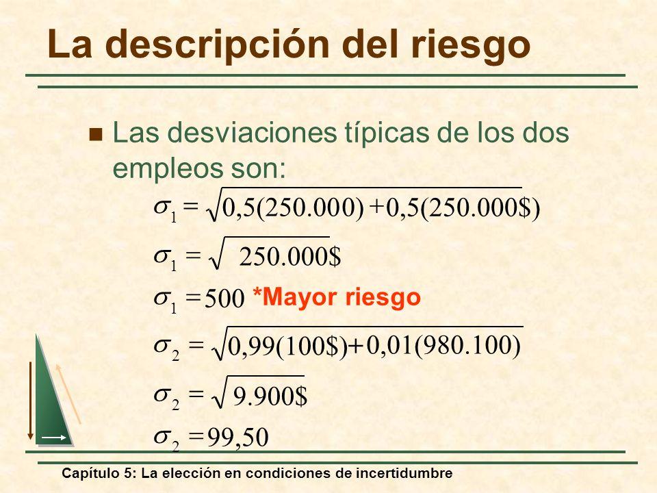 Capítulo 5: La elección en condiciones de incertidumbre La descripción del riesgo Las desviaciones típicas de los dos empleos son: 50,99 9.900$ 0,01(9