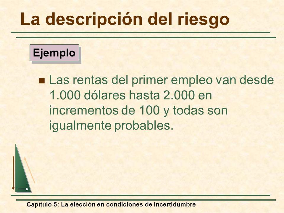 Capítulo 5: La elección en condiciones de incertidumbre La descripción del riesgo Las rentas del primer empleo van desde 1.000 dólares hasta 2.000 en