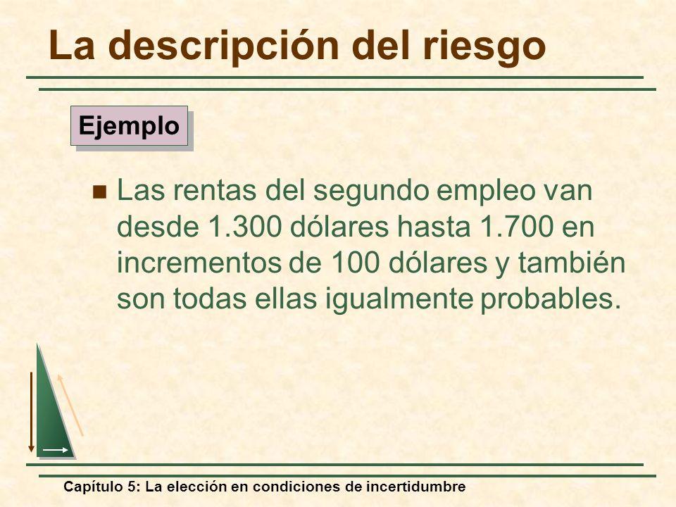 Capítulo 5: La elección en condiciones de incertidumbre La descripción del riesgo Las rentas del segundo empleo van desde 1.300 dólares hasta 1.700 en