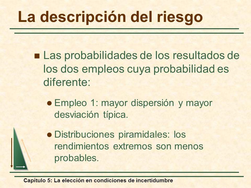 Capítulo 5: La elección en condiciones de incertidumbre La descripción del riesgo Las probabilidades de los resultados de los dos empleos cuya probabi
