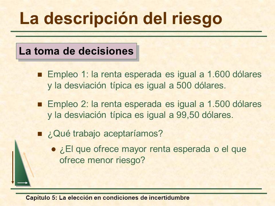 Capítulo 5: La elección en condiciones de incertidumbre La descripción del riesgo Empleo 1: la renta esperada es igual a 1.600 dólares y la desviación
