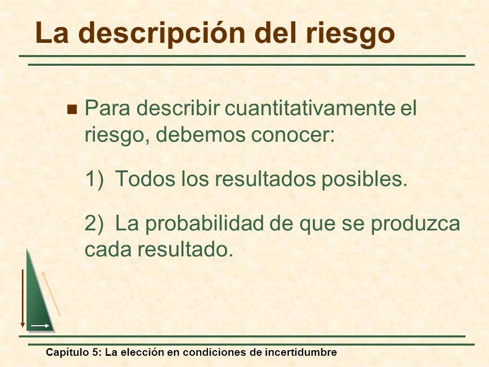 Capítulo 5: La elección en condiciones de incertidumbre La descripción del riesgo Para describir cuantitativamente el riesgo, debemos conocer: 1) Todo