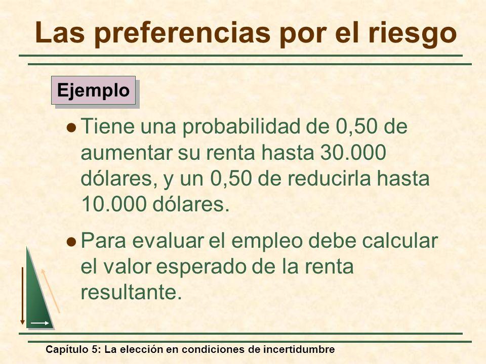 Capítulo 5: La elección en condiciones de incertidumbre Las preferencias por el riesgo Tiene una probabilidad de 0,50 de aumentar su renta hasta 30.00