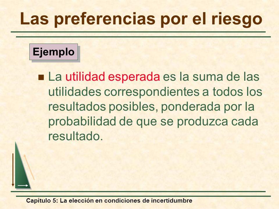 Capítulo 5: La elección en condiciones de incertidumbre Las preferencias por el riesgo La utilidad esperada es la suma de las utilidades correspondien