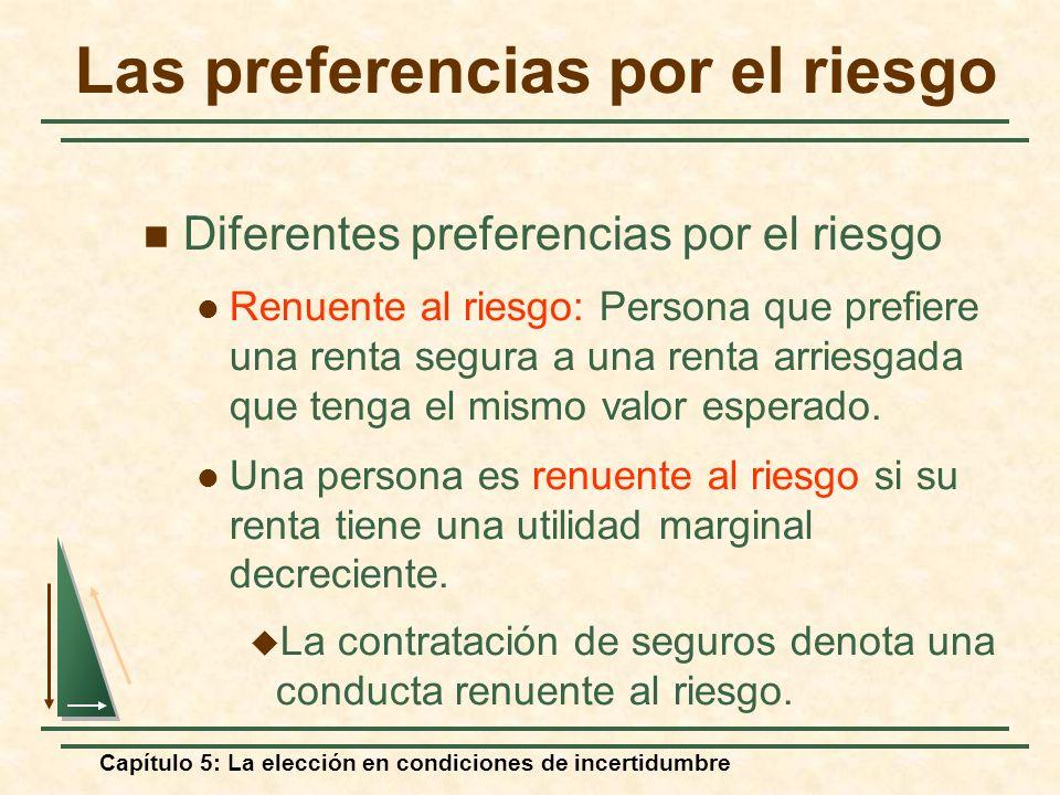 Capítulo 5: La elección en condiciones de incertidumbre Las preferencias por el riesgo Diferentes preferencias por el riesgo Renuente al riesgo: Perso