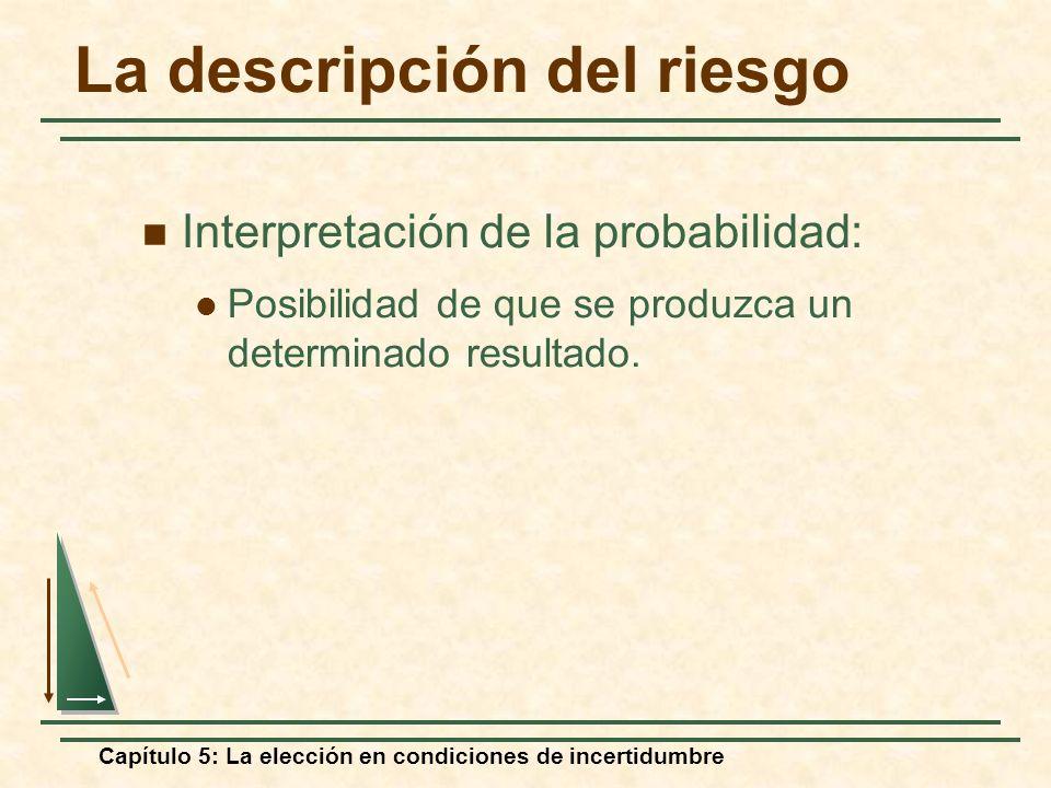 Capítulo 5: La elección en condiciones de incertidumbre La descripción del riesgo Interpretación de la probabilidad: Posibilidad de que se produzca un