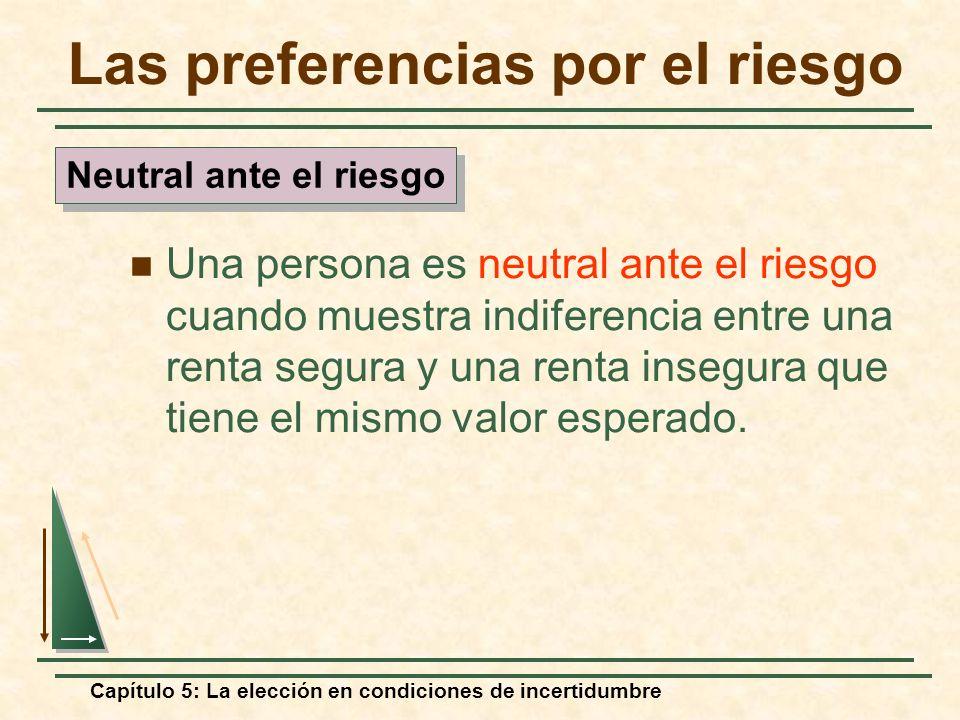 Capítulo 5: La elección en condiciones de incertidumbre Las preferencias por el riesgo Una persona es neutral ante el riesgo cuando muestra indiferenc