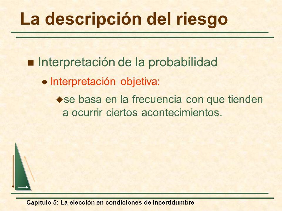 Capítulo 5: La elección en condiciones de incertidumbre La descripción del riesgo Interpretación de la probabilidad Interpretación objetiva: se basa e