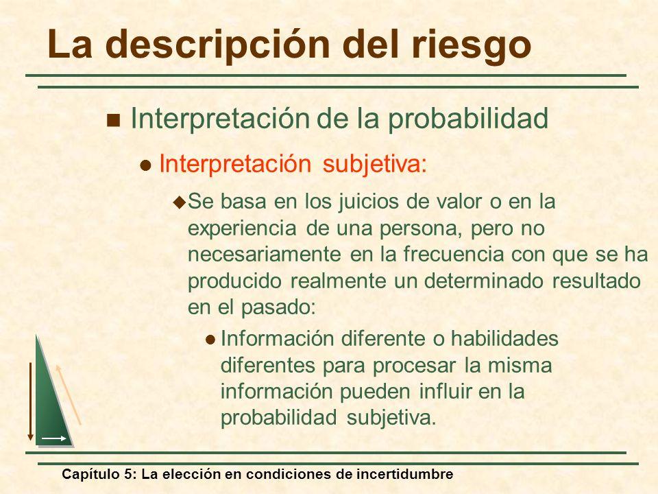 Capítulo 5: La elección en condiciones de incertidumbre La descripción del riesgo Interpretación de la probabilidad Interpretación subjetiva: Se basa