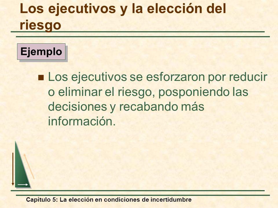 Capítulo 5: La elección en condiciones de incertidumbre Los ejecutivos se esforzaron por reducir o eliminar el riesgo, posponiendo las decisiones y re